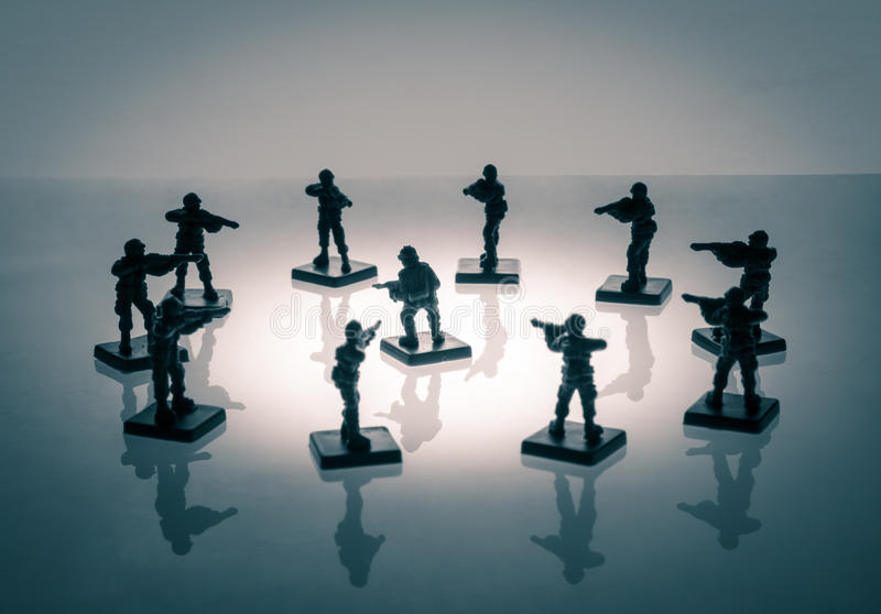 Surrounded soldier stock image
