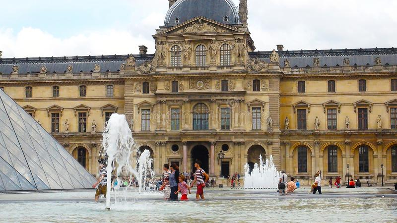 Surroundings of Louvre museum stock images