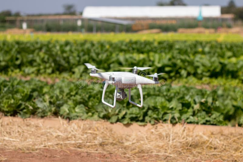 Surrquadcoptersvävande på himmelbakgrund, surrkamera, i lantgård arkivbild