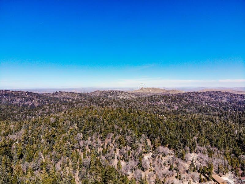 Surrsikt från ovanför kanten av världen som ser över den San Bernardino Mountains Towards The Mojave öknen royaltyfria bilder