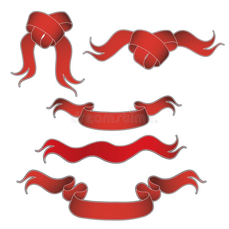 Surtido de cintas rojas ilustración del vector