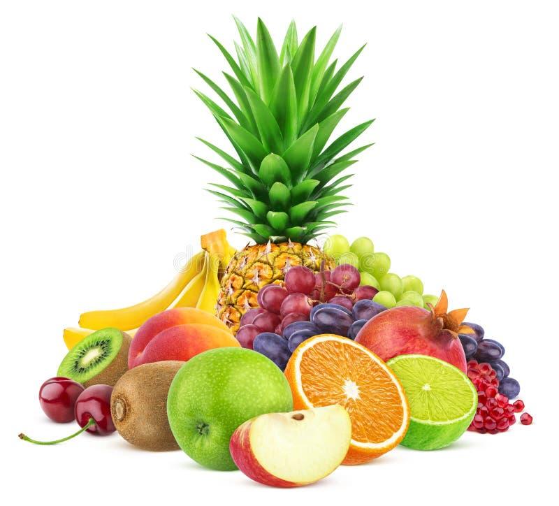 Surtido de frutas exóticas en el fondo blanco fotografía de archivo
