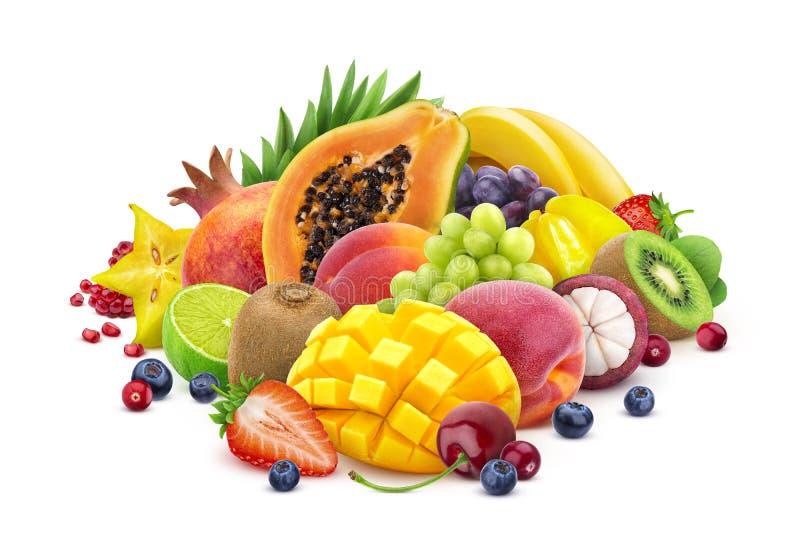 Surtido de frutas exóticas y de bayas aisladas en el fondo blanco con la trayectoria de recortes libre illustration