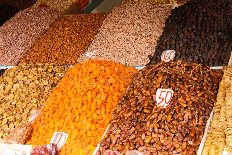 Surtido de frutas secadas marrakesh marruecos imagen de archivo