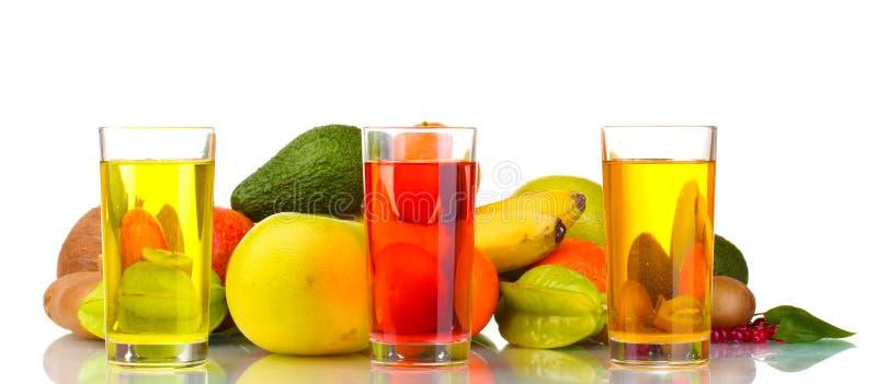 Surtido de frutas y de jugo exóticos foto de archivo libre de regalías