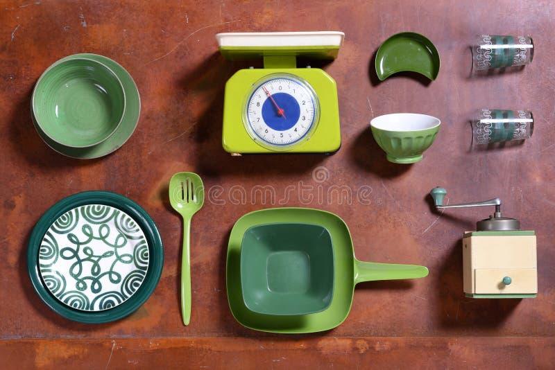 Surtido de herramientas temáticas verdes de la cocina fotos de archivo libres de regalías