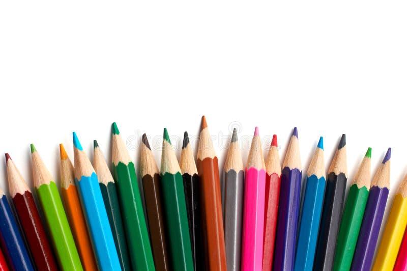 Surtido de lápices coloreados imagenes de archivo
