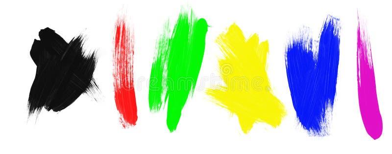 Surtido de movimientos del cepillo de pintura stock de ilustración