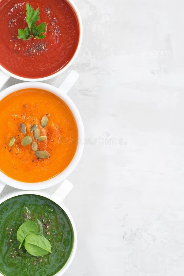 Surtido de sopa poner crema vegetal colorida imágenes de archivo libres de regalías