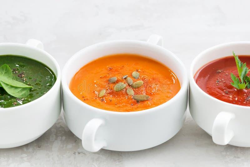 Surtido de sopa poner crema vegetal colorida en el fondo blanco fotografía de archivo