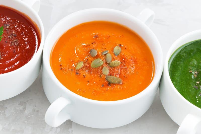 Surtido de sopa poner crema vegetal colorida, primer fotografía de archivo libre de regalías