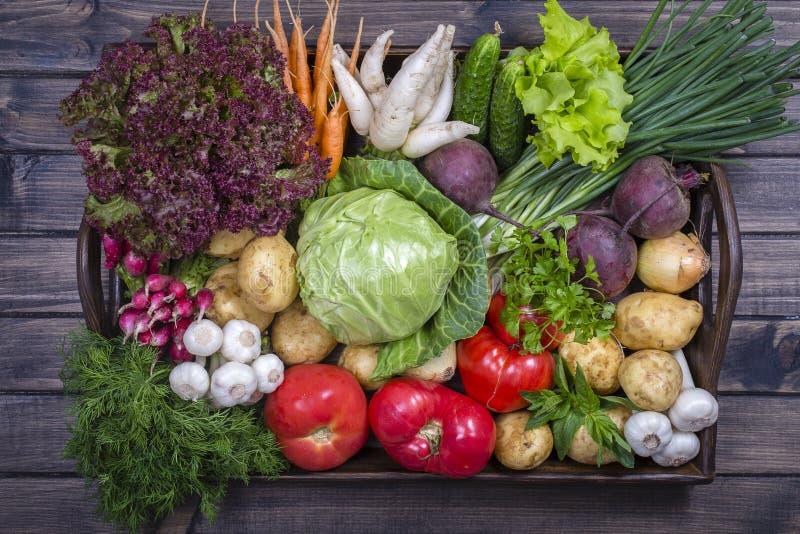 Surtido de verduras frescas en fondo de madera de la bandeja imagen de archivo
