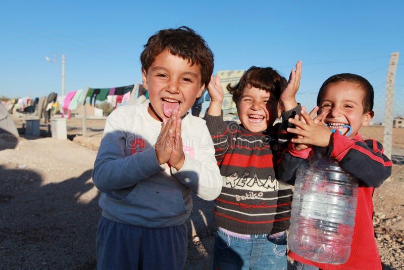 SURUC的叙利亚难民,土耳其 免版税库存图片