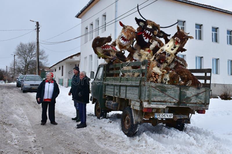 Surva庆祝在保加利亚村庄 库存图片