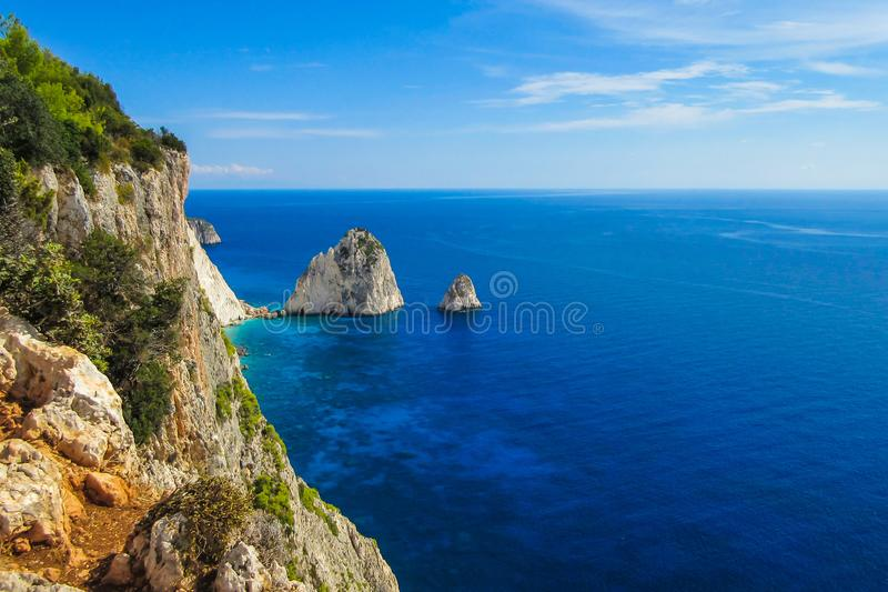 Surveillance étonnante au cap de Keri, Zakynthos, Grèce photographie stock
