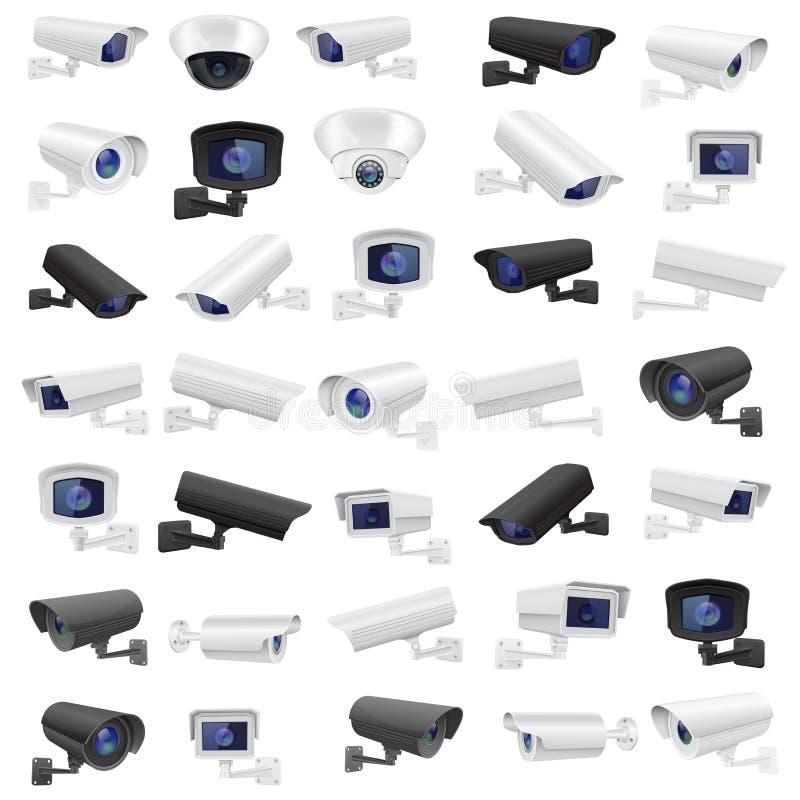 Surveillance autour de l'horloge Grande collection de dispositifs noirs et blancs de surveillance illustration de vecteur