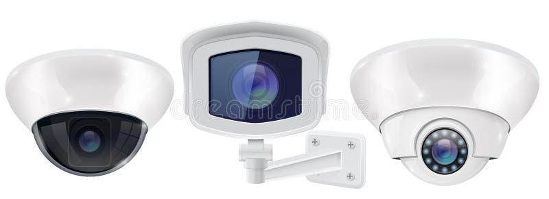 Surveillance autour de l'horloge Plafond et dispositifs fixés au mur illustration de vecteur