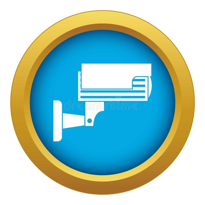 Surveillance camera icon blue vector isolated vector illustration