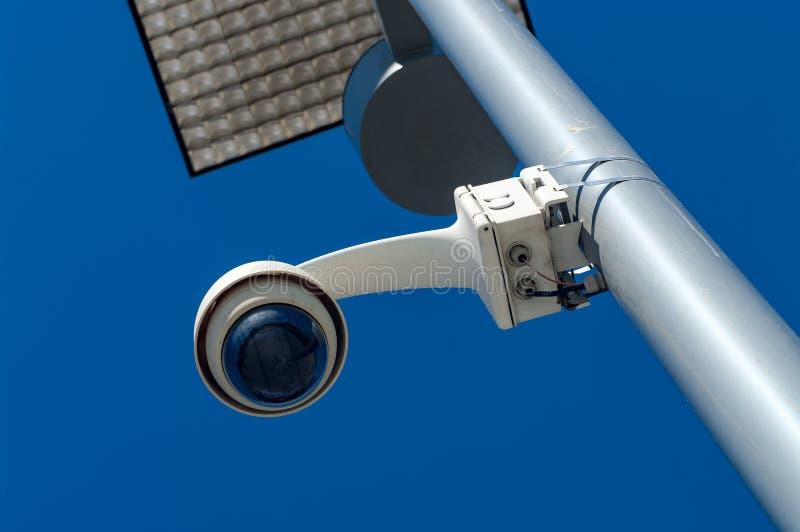 Surveillance 360 camera on a pole. stock photos