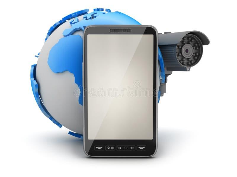 Surveillance camera, mobile phone and earth globe. Video surveillance camera, mobile phone and earth globe vector illustration