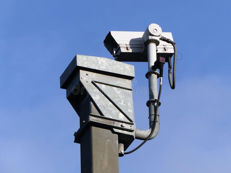 Surveillance camera monitoring motorway traffic on the M25 stock photo