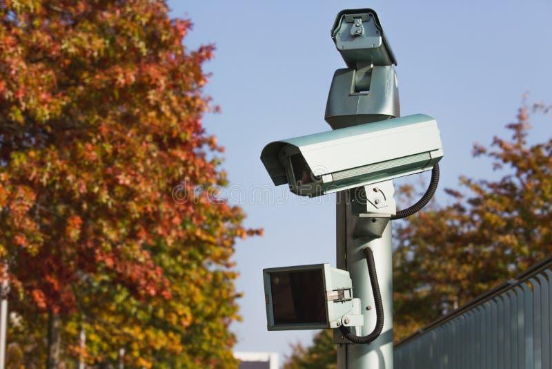 Surveillance camera with motion sensor. stock image