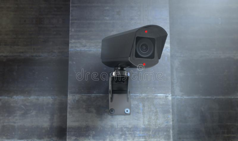 Surveillance Camera At Night. A wireless surveillance camera with illuminated lights mounted on a wall in the night-time with copy space - 3D render vector illustration