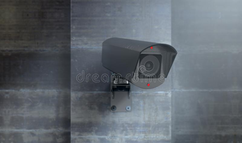 Surveillance Camera At Night. A wireless surveillance camera with illuminated lights mounted on a wall in the night-time with copy space - 3D render stock illustration
