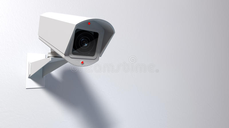 Surveillance Camera On White. A white wireless surveillance camera with illuminated lights mounted on an isolated white wall with copy space stock illustration