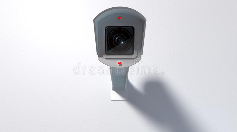 Surveillance Camera On White. A white wireless surveillance camera with illuminated lights mounted on an white wall with copy space vector illustration