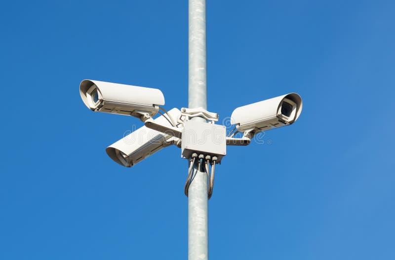 Surveillance cameras against blue sky Security Cctv. Surveillance cameras against blue sky. Security Cctv stock image