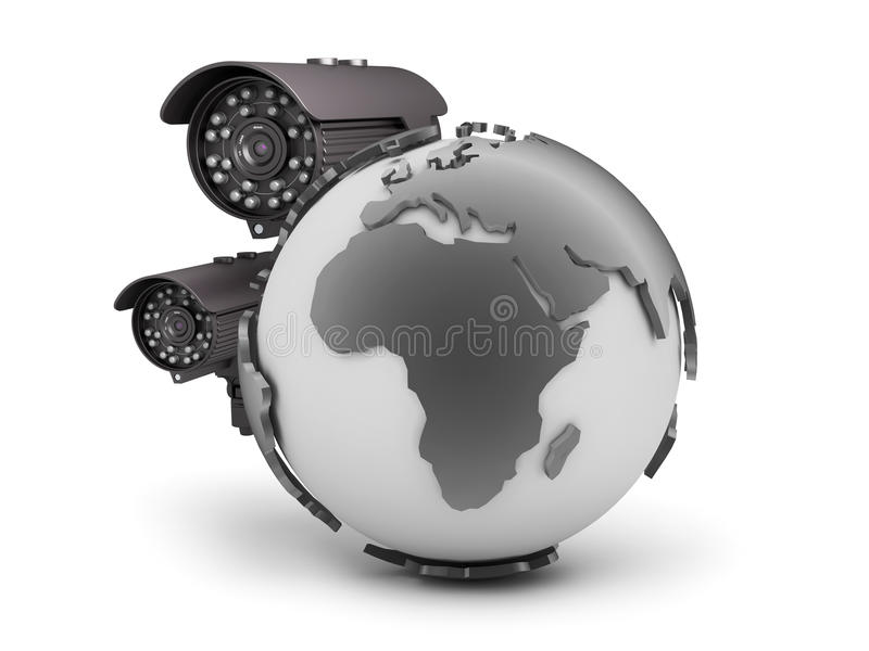 Surveillance cameras and earth globe on white background. Surveillance cameras and earth globe isolated on white background stock illustration