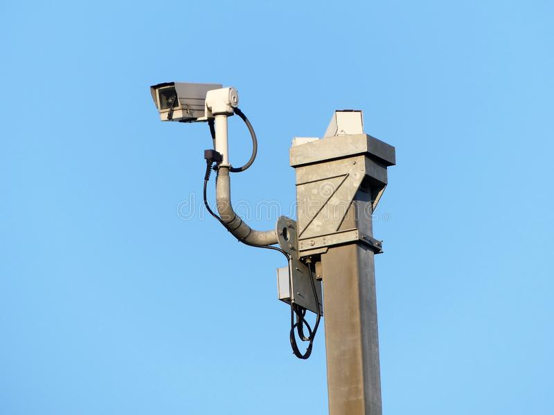Surveillance cameras monitoring motorway traffic on the M25 stock photography