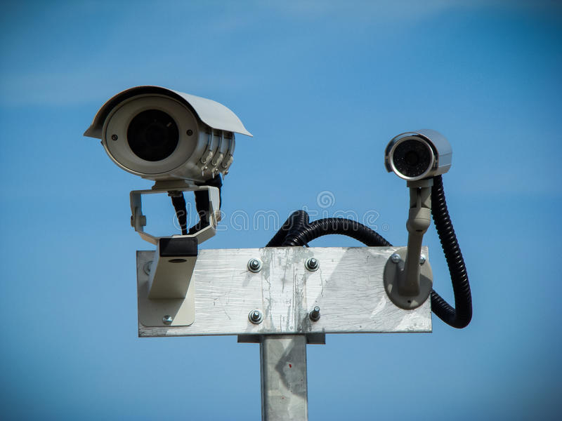 Download Surveillance cameras stock image. Image of video, mounted - 48927153