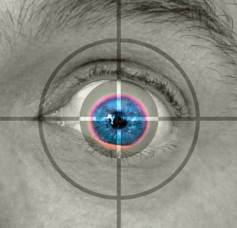 Surveillance de contrôle de sécurité de balayage d'oeil de rétine de biométrie photographie stock