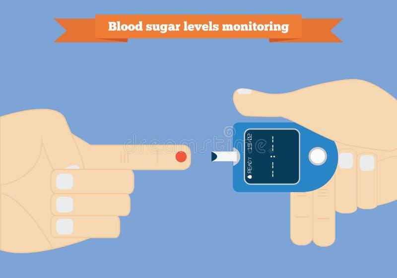 Surveillance de taux du sucre dans le sang avec la conception plate de mètre de glucose illustration de vecteur