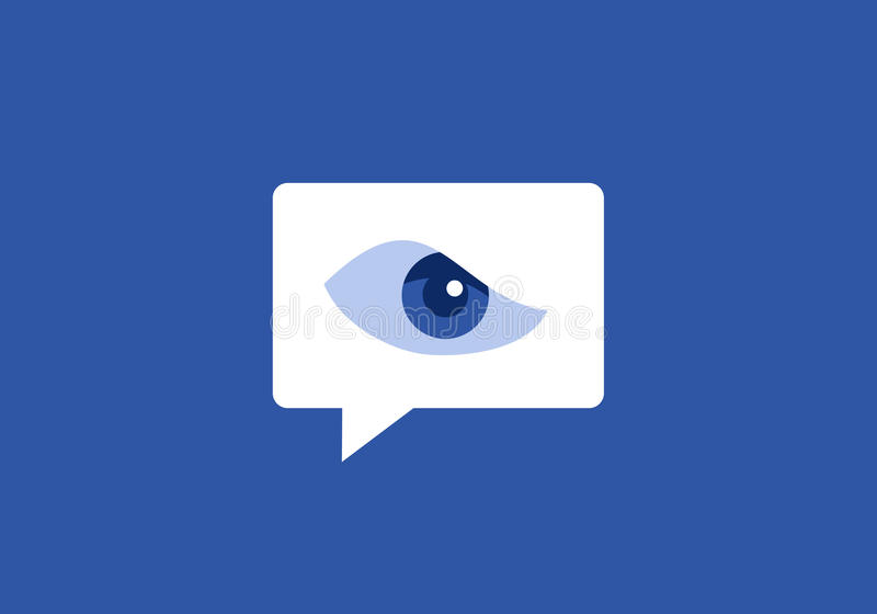 Surveillance on social networking site. Surveillance, control, inspection and monitoring of communication on social media and chat & x28; Color and shape of stock illustration