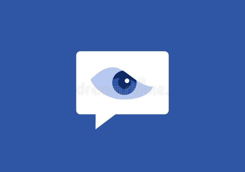 Surveillance sur le site social de mise en réseau illustration stock