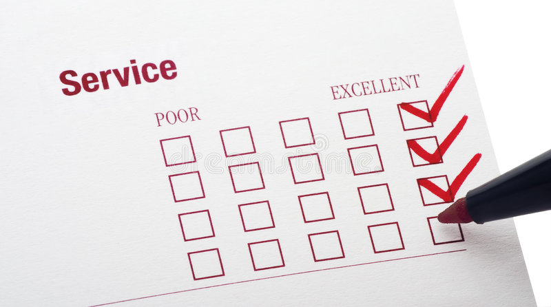 Survey. For service rendered with excellent checkbox marked