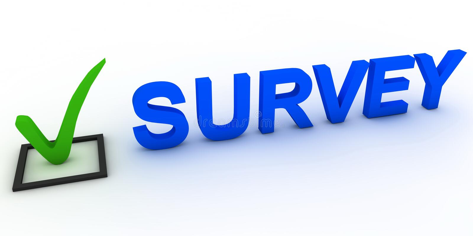 Survey. Sign and green tick