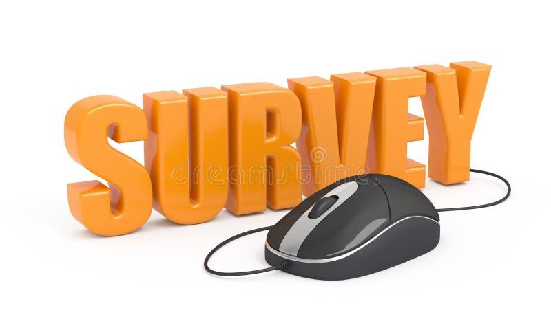 Survey. Survey word and computer mouse. 3d illustration