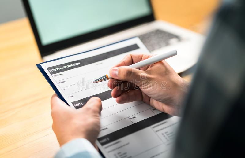 Survey, agreement or application paper stock image