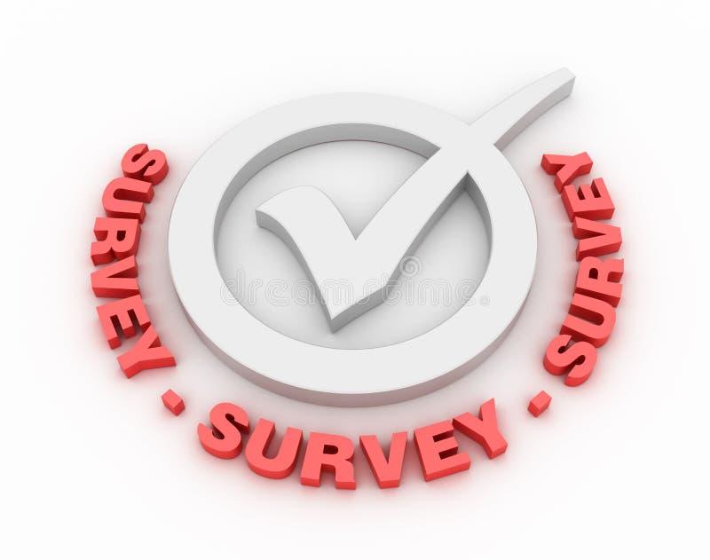 Survey Check Mark. Three dimensional illustration of Check Mark with Survey Words stock illustration