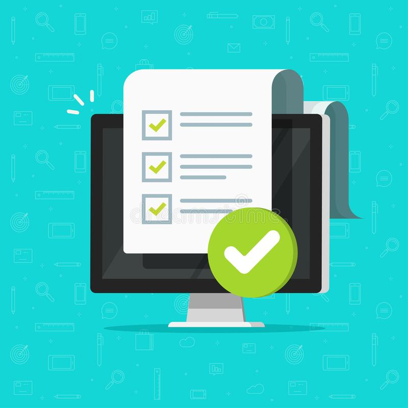 Free Survey Checklist Form Or Complete Task List On Computer Vector Illustration, Flat Cartoon Pc With Checkmarks Document Or Royalty Free Stock Photography - 161245117