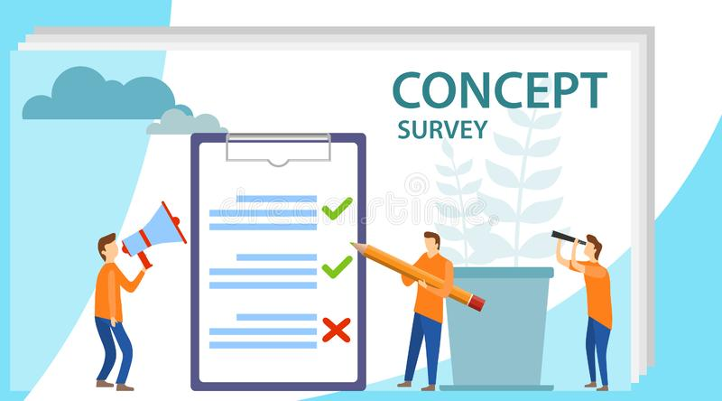 Survey concept banner with characters. Survey vector illustration. Flat mini persons concept with quality test and vector illustration