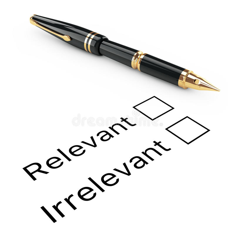 Free Survey Concept. Relevant Or Irrelevant Checklist With Golden Fountain Writing Pen. 3d Rendering Royalty Free Stock Images - 81273419