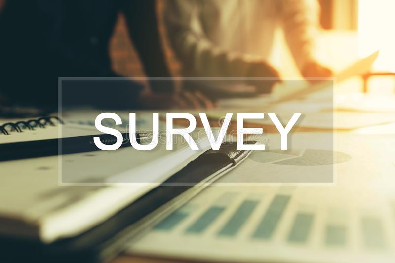 Survey concept and two business people in a meeting at boardroom stock image
