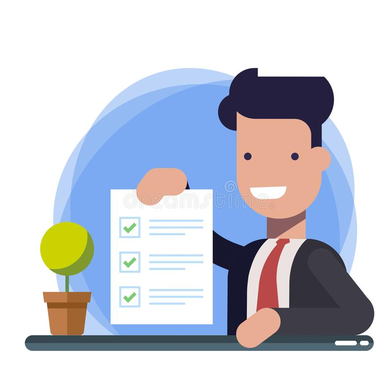 Survey or exam form paper sheet in hand of businessman, answered quiz checklist and success result assessment. Happy royalty free illustration