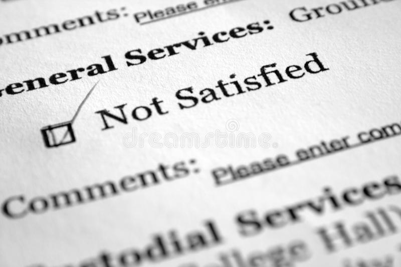 Survey Form- Not Satisfied Stock Image