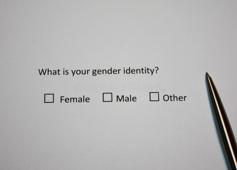 Survey question: What is your gender identity? Female, Male or Other. Sexual and gender nowadays topic stock photos